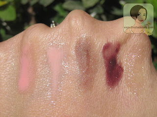 MAC lipglasses in Talk Softly to Me, Pink Fade,  Deliciously Demure, Flight of Fancy, Impossibly Sweet