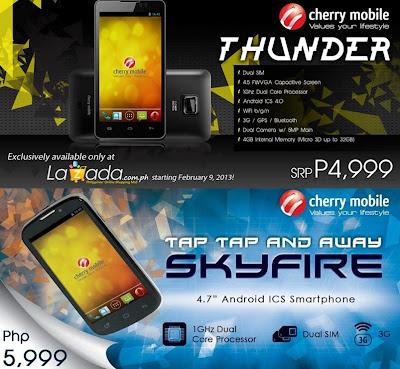 Cherry Mobile THUNDER vs SKYFIRE Price and Specs Comparison
