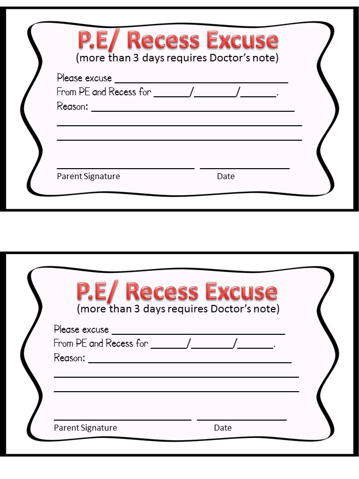 Blank Doctors Excuse Fill it out and send it