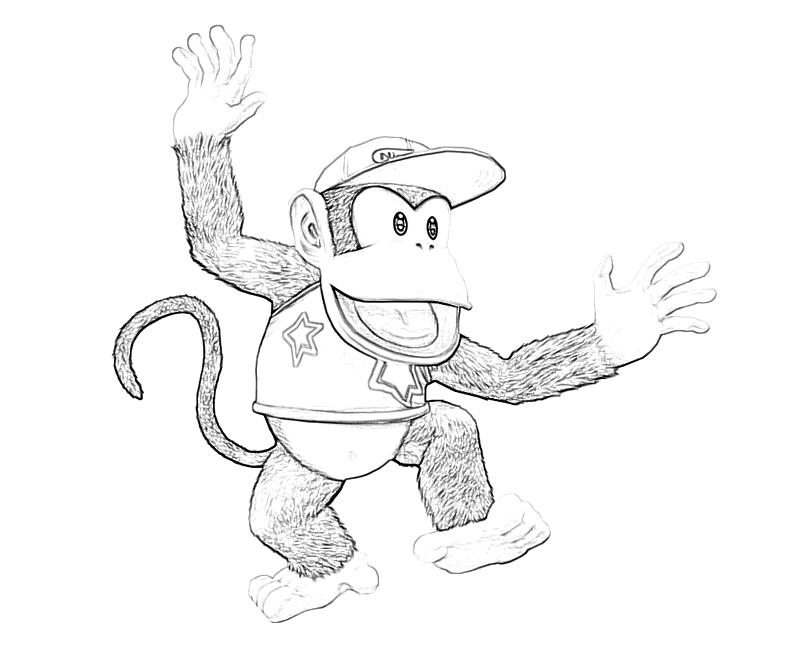 diddy kong coloring pages donkey kong country returns diddy cute mario