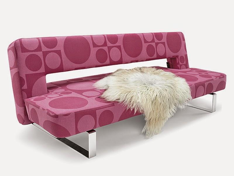 pink modern reclining sofa