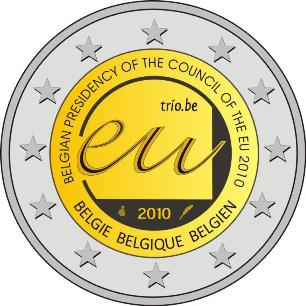This 2 euro commemorative coin issued by Belgium celebrates the Belgian Presidency of the Council of the European Union in 2010.