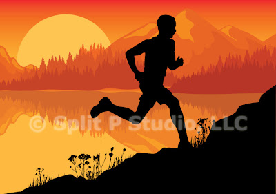 jogging vector art, male jigging in nature