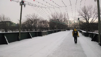 The frozen skating trail on land extends across a bridge over the river