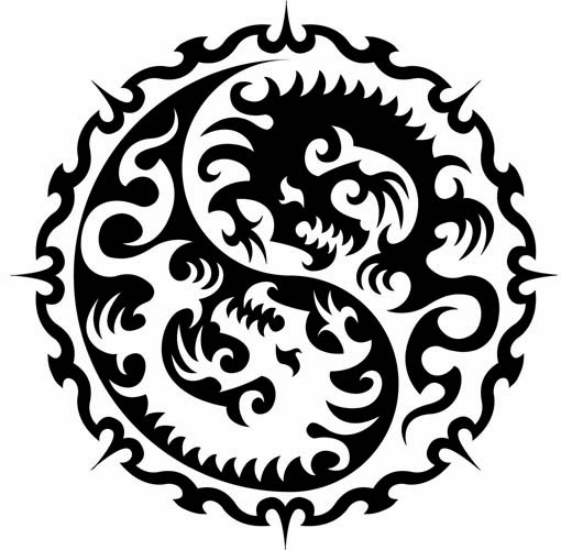 Yin Yang Chinese dragons tattoo stencil