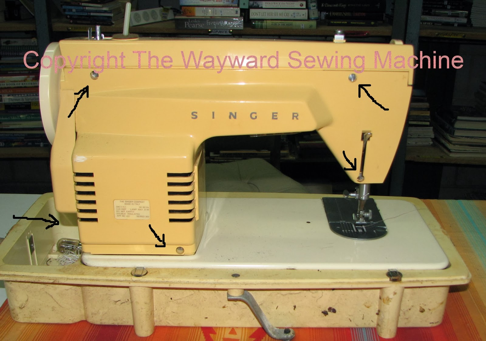 The Wayward Sewing Machine Singer Fashion Mate 362 Thread A Diagram Labeled To Take Back Off Remove Screws Marked In Tip Up And Metal Light Bulb Cover It Will Only Get Way