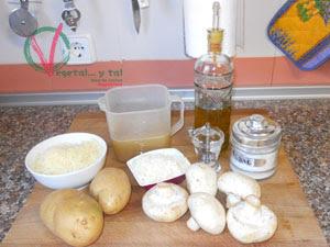 Ingredientes para la Gratén de champiñón y patata