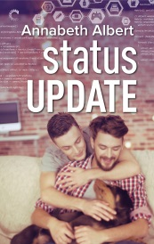Cover of Status Update, featuring two white men seated on a couch. One has his armed wrapped around the other from behind. They both pet a tan and black dog curled up in the foremost man's lap.