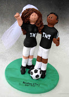 wedding cake topper for soccer players and fans