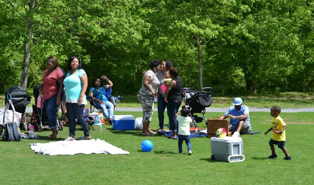 guests gathering at picnic playdate by Cordier Events