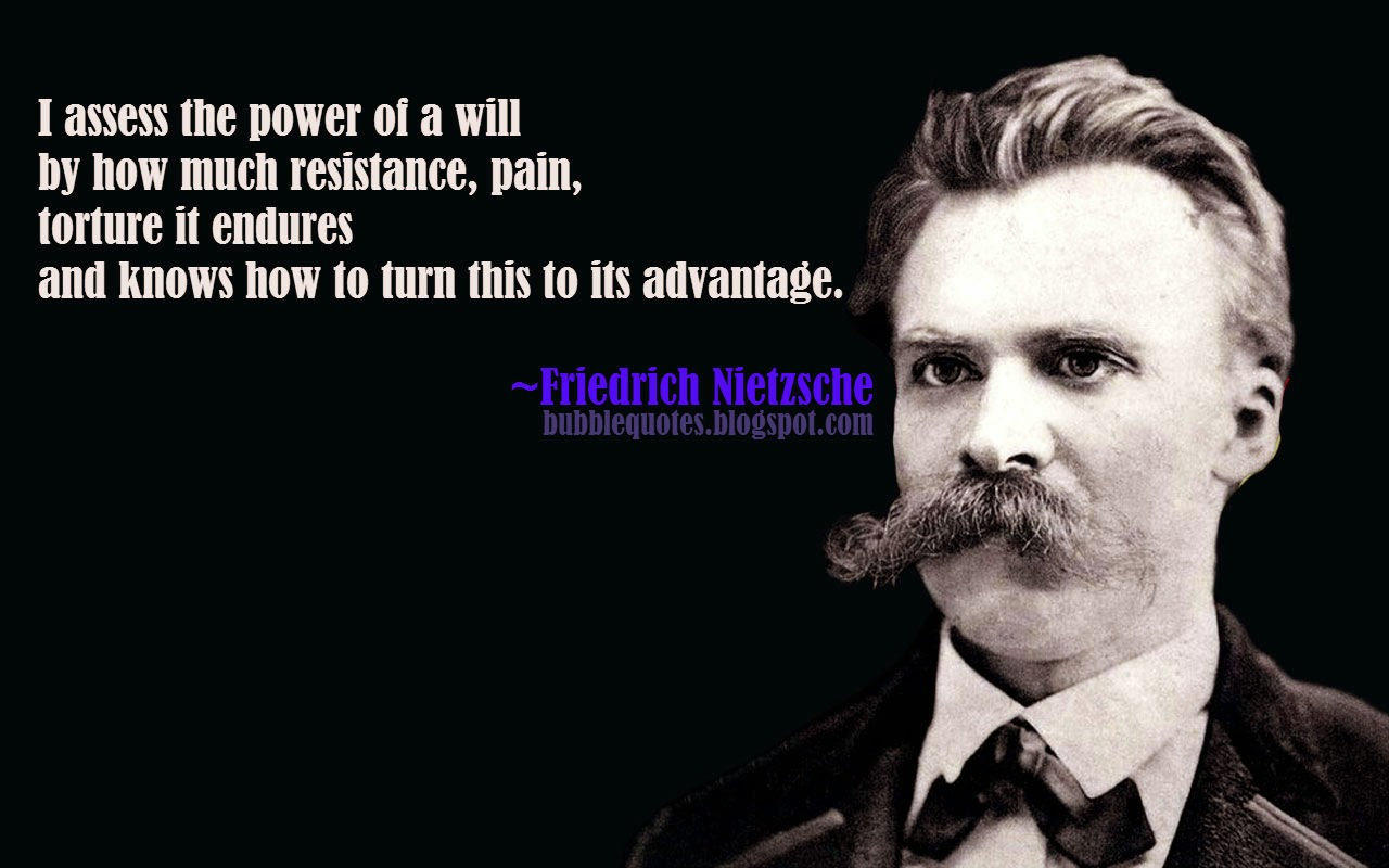 I asses the power of will by how much resistance, pain, torture it endures and knows how to turn this to its advantage.