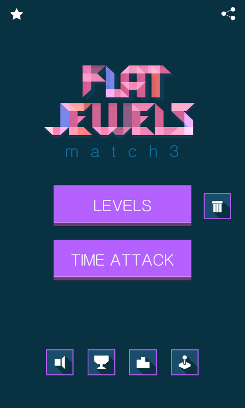 Flat Jewels Match 3 - menu