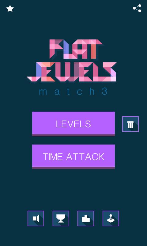Flat Jewels Match 3 - menu
