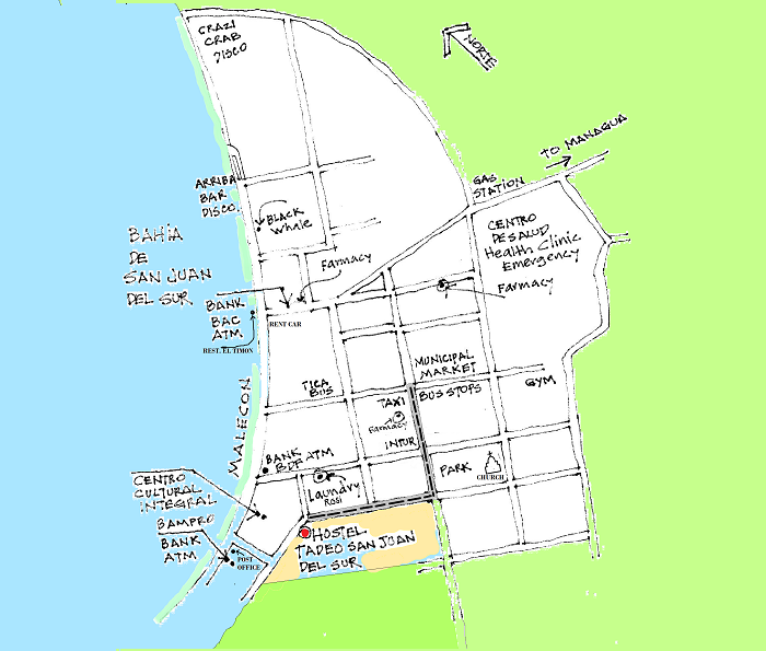 Mapa de Urbano de San Juan del Sur