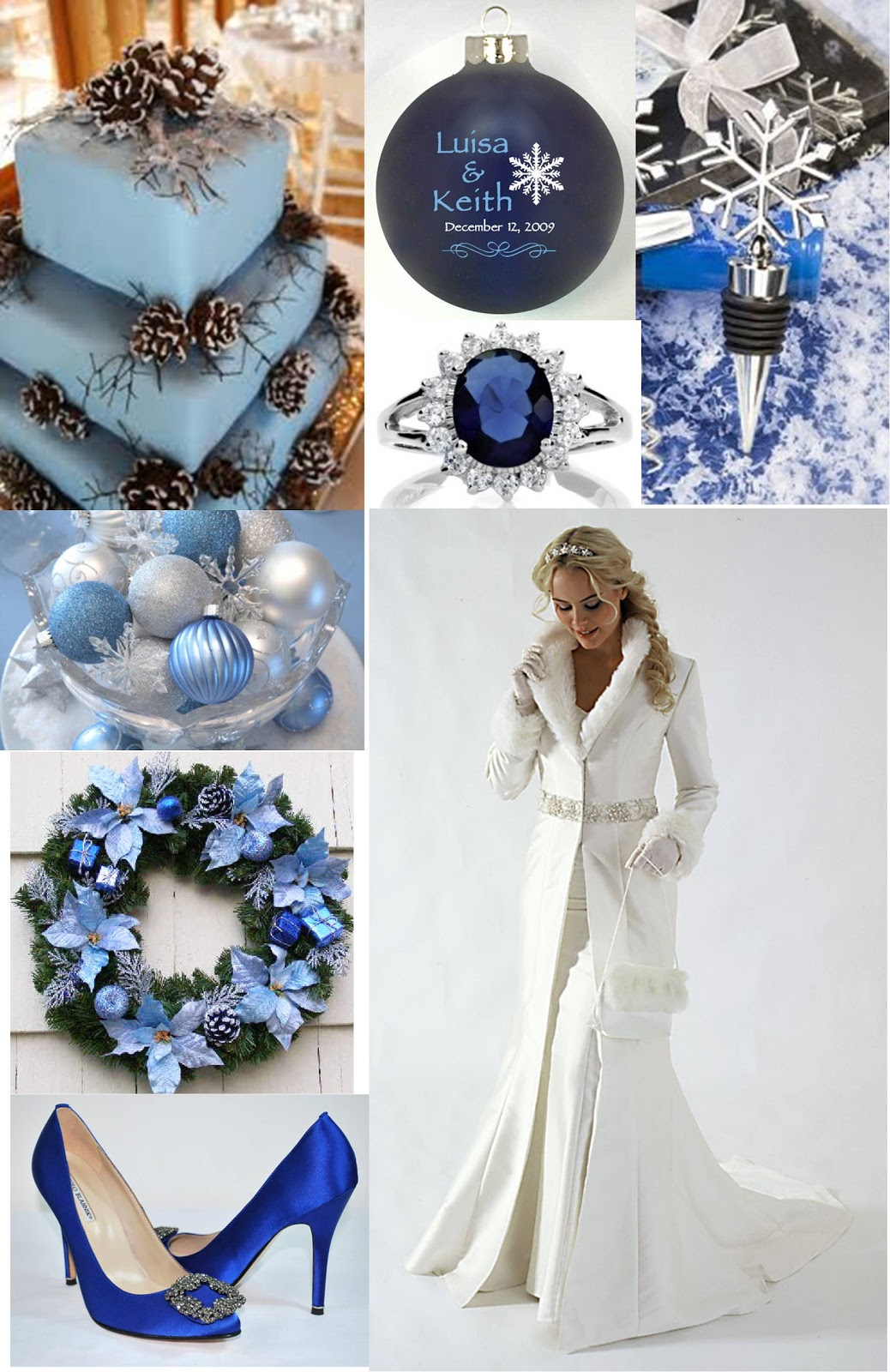 DIY Wedding Crafts: Christmas Wedding Theme Board: Blue and Silver