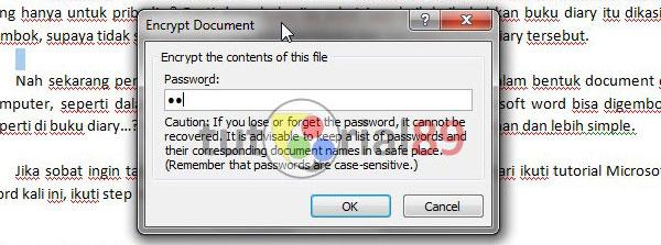 Cara memberi password pada Microsoft word