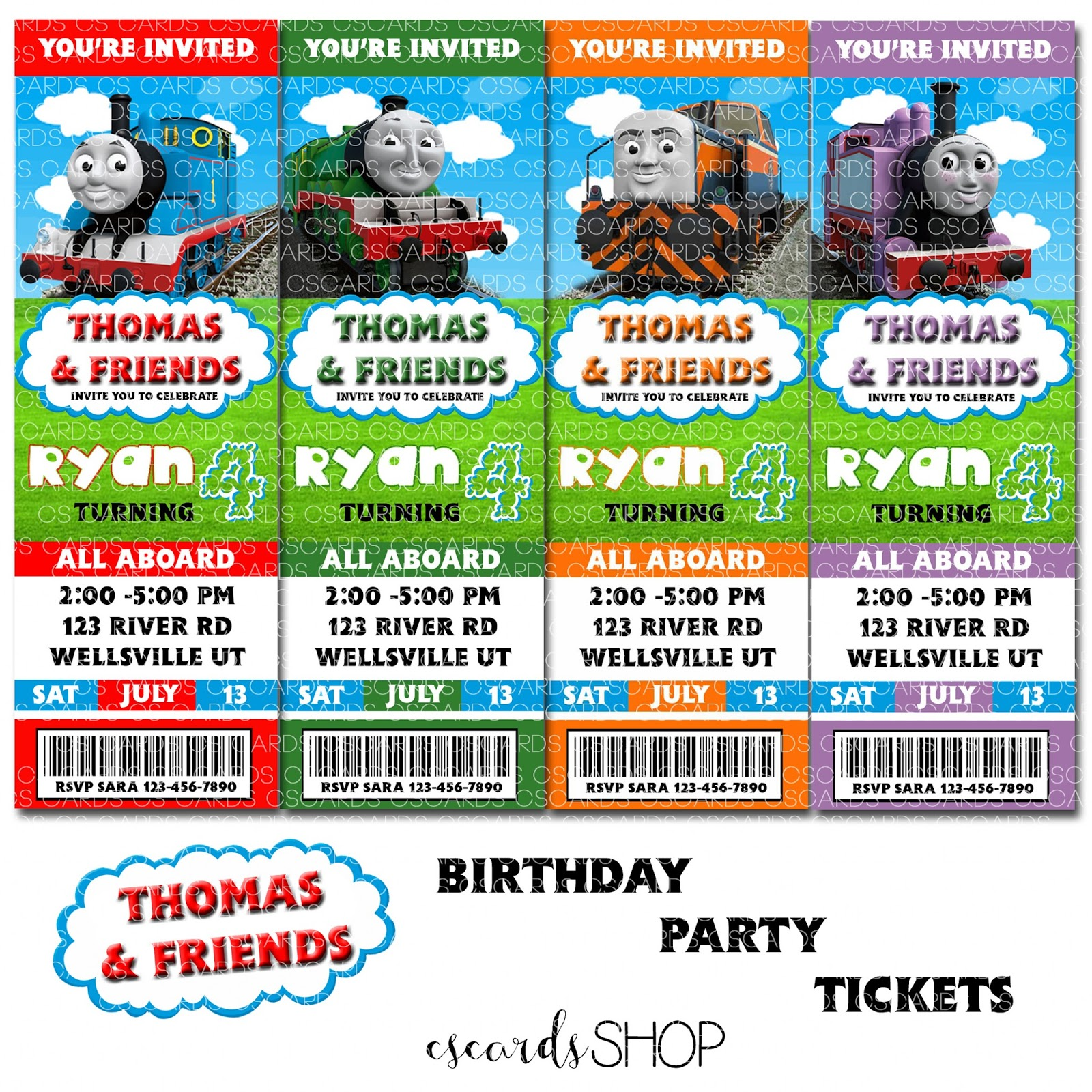 Thomas The Train And Friends Birthday Party Invitations Ticket Style