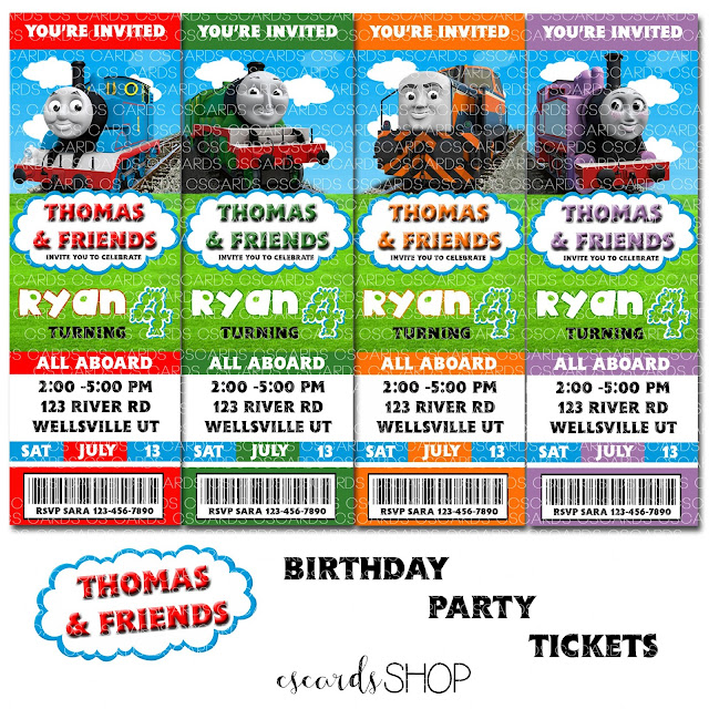 Thomas The Train, and Friends! Birthday Party Invitations Ticket Style