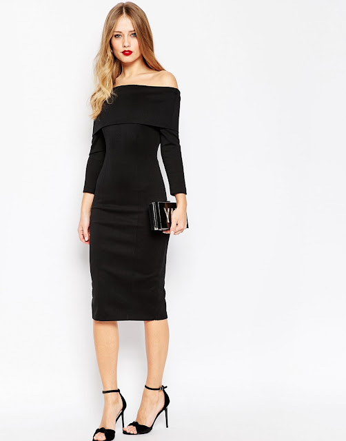 black bardot long sleeve dress, black scuba bardot dress,