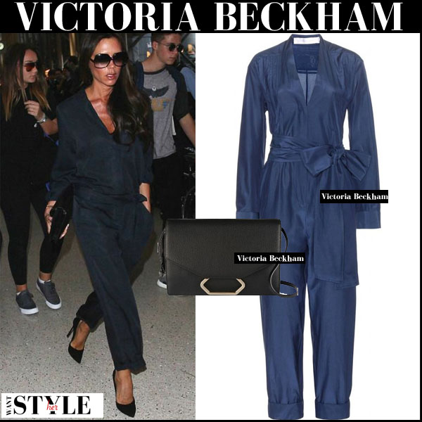Victoria Beckham in dark blue navy silk jumpsuit streetstyle fall 2015