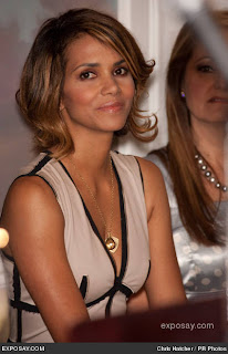 Halle Berry Medium length blonde hairstyle with highlights