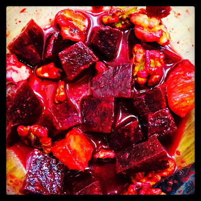 Halloween Blood Red Vegan Salad - Beets, Oranges, Walnuts!
