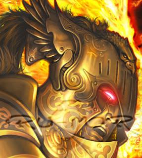 Detalle de ilustración de personaje hecha por ªRU-MOR para el juego de fantasía y Cartas de ÉPICA. Edades Oscuras. Detalle del rostro y yelmo
