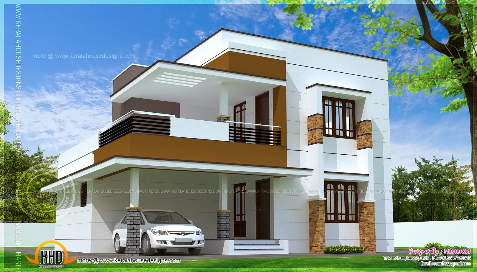 Simple modern home design in 1817 square feet kerala Modern home design