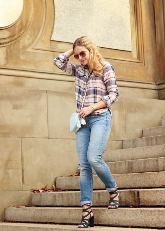 The Steele Maiden: Paige Denim Plaid Shirt and French Connection Cutout Heels