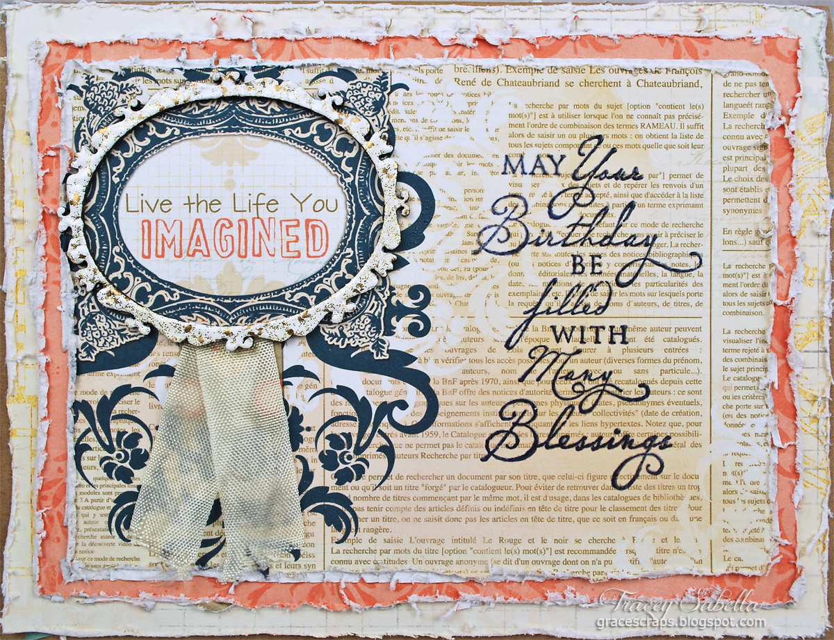 Shabby Chic Card by Tracey Sabella for Leaky Shed Studio, Chipboard Frames