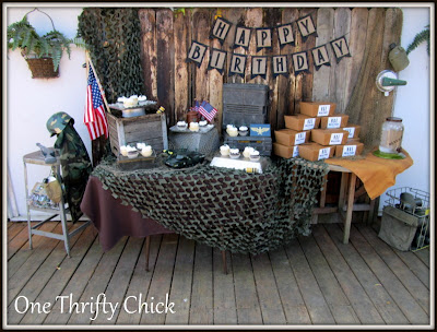 One thrifty chick army birthday party for Army party decoration ideas