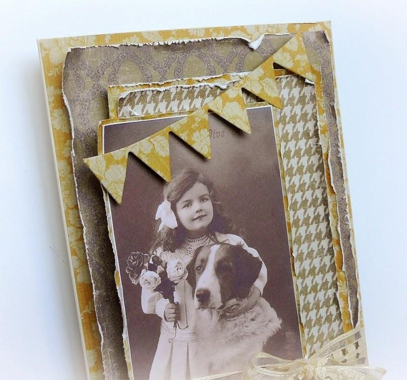 kartka retro z dziewczynką