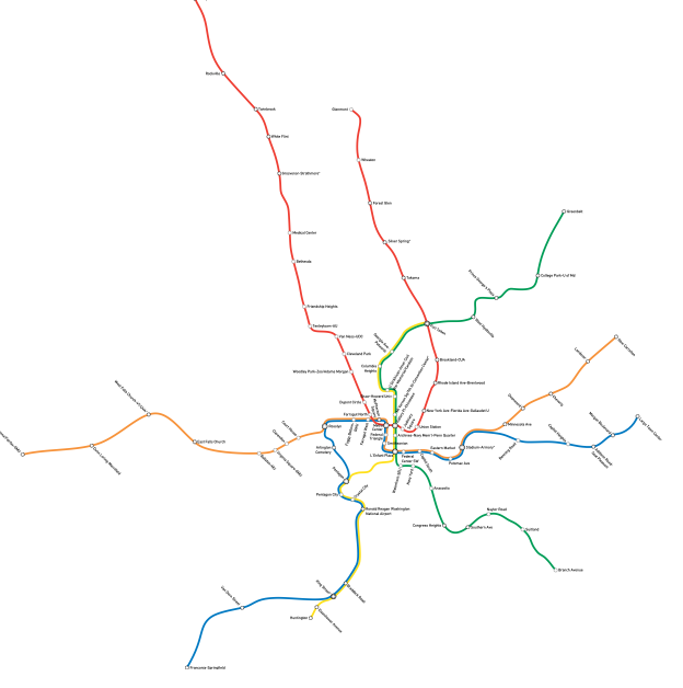 Metro Today Map to Scale Oil Free Greater Washington DC Area