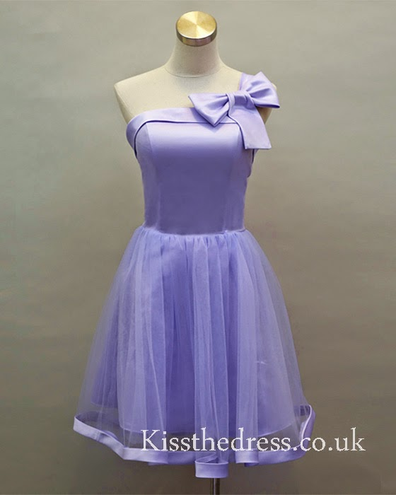 purple short bridesmaid dress