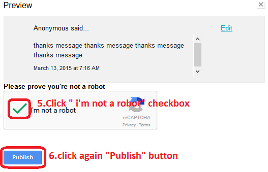 "Click "" i'm not a robot"" checkbox"