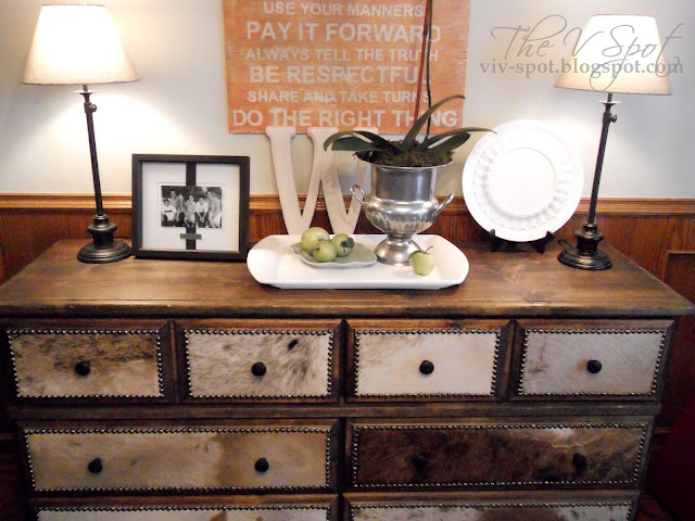 cowhide, dresser, dresser re-do, rustic, craigslist, studded dresser