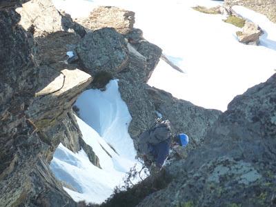 climbing down a gully