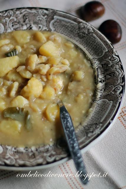 zuppa di castagne patate e cipolle