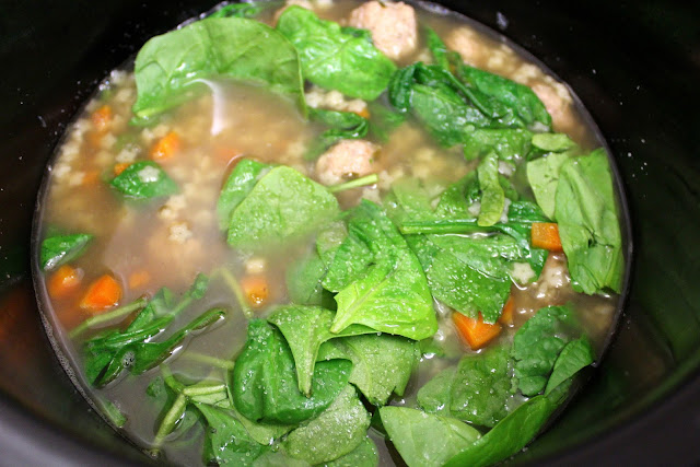 Crock Pot Italian Wedding Soup with Turkey Meatballs from dontmissdairy.com