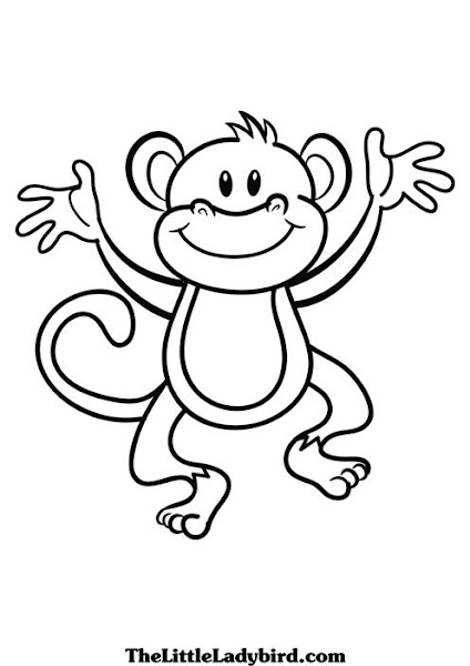 Black and White Monkey Coloring Page