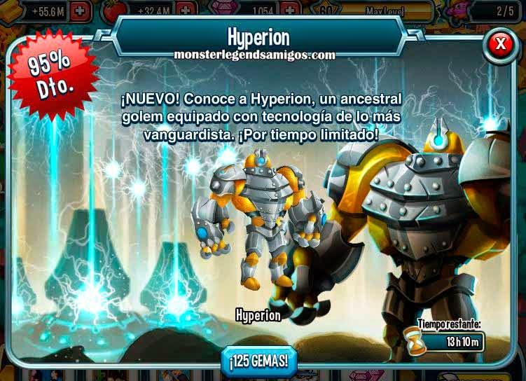 imagen de la oferta especial del monstruo hyperion de monster legends