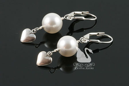 Pearl Heart Dangle Beaded Earrings (E202)