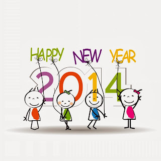 kids Happy New Year 2014 Coloring Pages