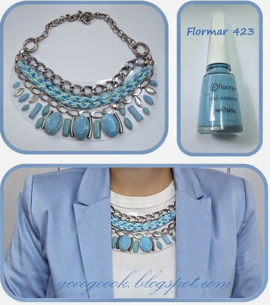 Pvc necklace,  Baby blue,