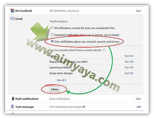 Gambar: Mengganti opsi penerimaan notifikasi email facebook