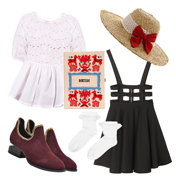 heidi look, frilly white top, skirt with braces, straw hat, red bow hat, heidi book clutch, suede ankle boots, white socks