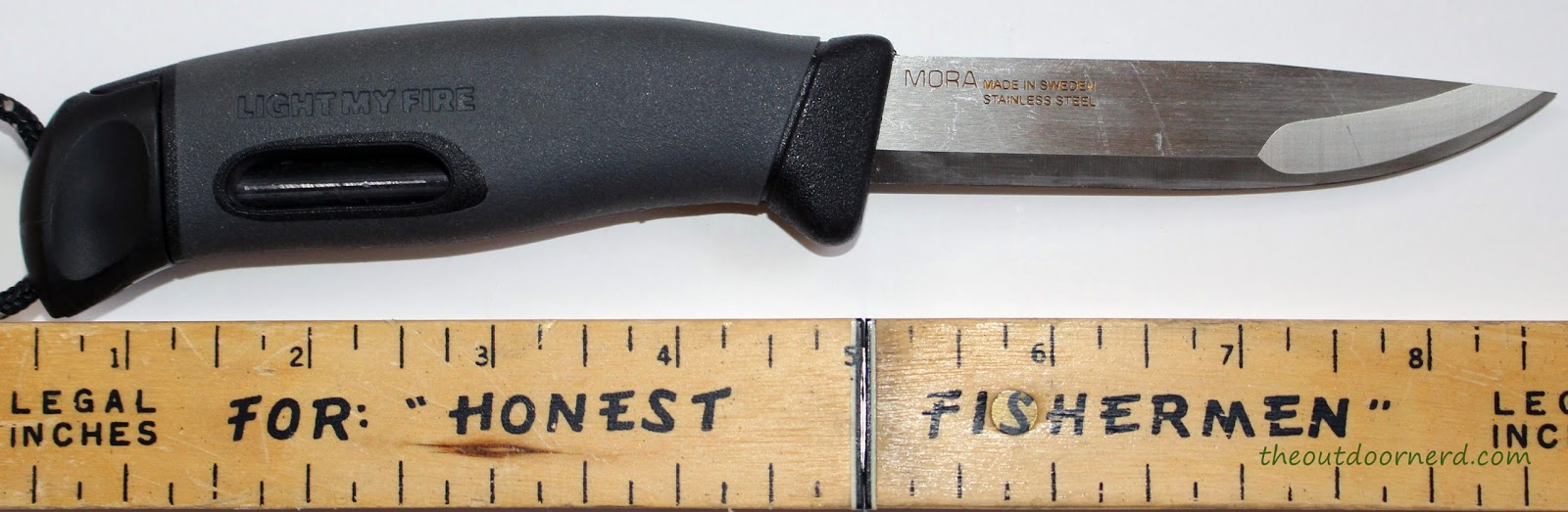 Light My Fire Swedish FireKnife: Shown Next To Ruler