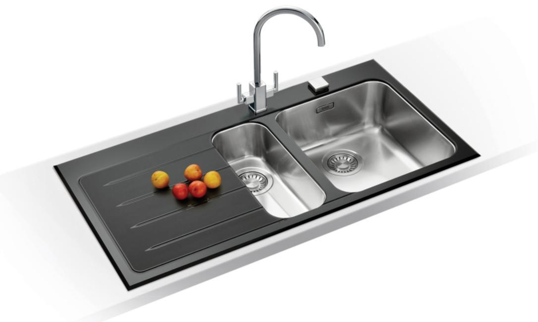 Mybathroom black glass stainless steel kitchen sink franke epos glass stainless steel kitchen sink mybathroom from 37999 workwithnaturefo