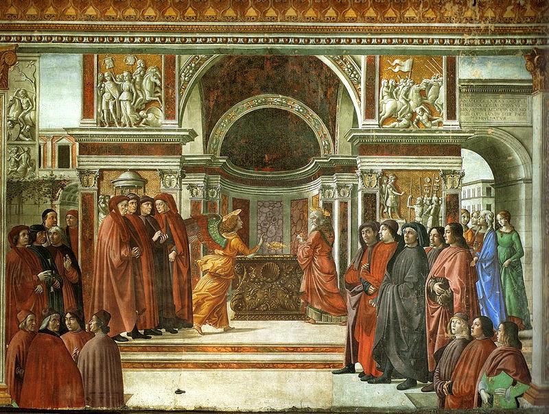 Anuncio del Ángel a Zacarías obra del artista italiano Domenico Ghirlandaio