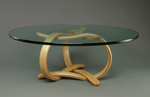 Loop-D-Loop Coffee Table made from Ash wood, Walnut color,and Glass